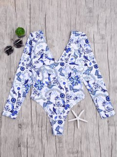 Padded Printed Rashguard One Piece Swimsuit - Blue And White M