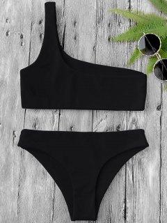 One Shoulder Bikini Set - Black M