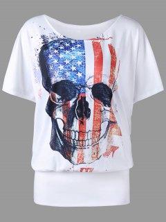 Plus Size American Flag Skull Print T-shirt - White 4xl