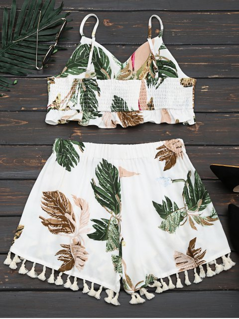 affordable Cropped Ruffles Tropical Top and Tassels Layered Shorts - WHITE S Mobile
