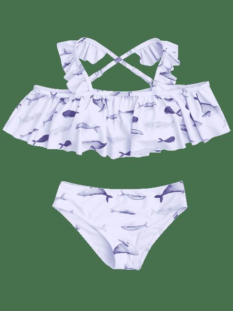 hot Dolphin Print Flounce Kids Bikini Set - WHITE 6T Mobile