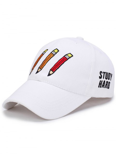 shops Cartoon Pencil Letters Embroidery Baseball Hat - WHITE  Mobile