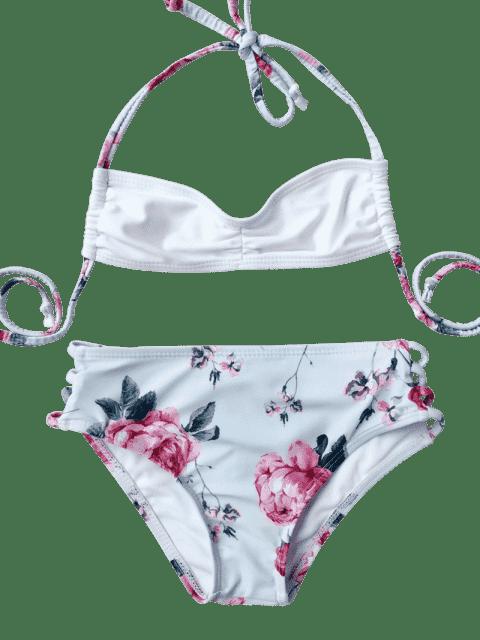 online Banded Floral Ruched Kid Bikini - LIGHT BLUE 6T Mobile