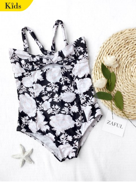 outfit Back Tied Cut Out Floral Kid Swimwear - BLACK 5T Mobile