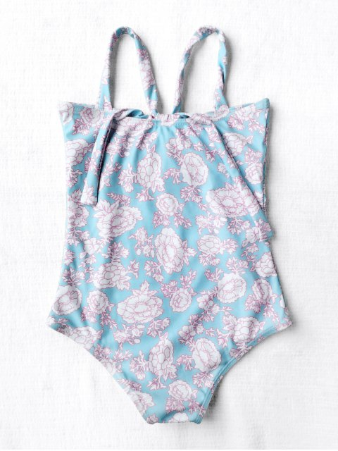 trendy Cut Out Back Tied Floral Kid Swimwear - LIGHT BLUE 6T Mobile