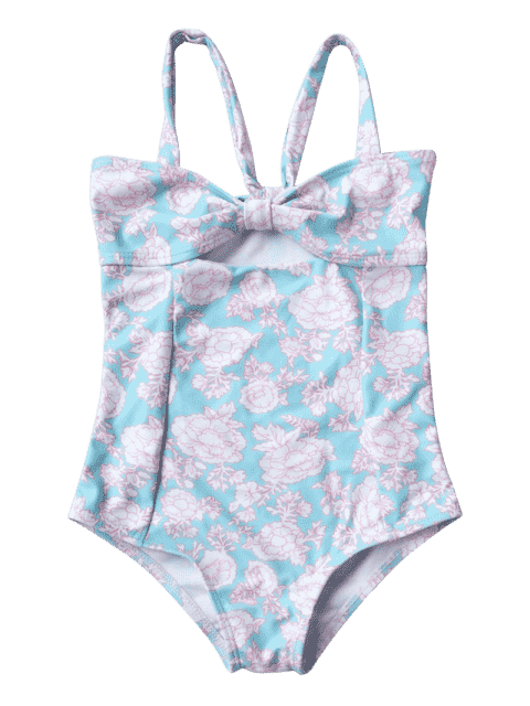 fashion Cut Out Back Tied Floral Kid Swimwear - LIGHT BLUE 7T Mobile