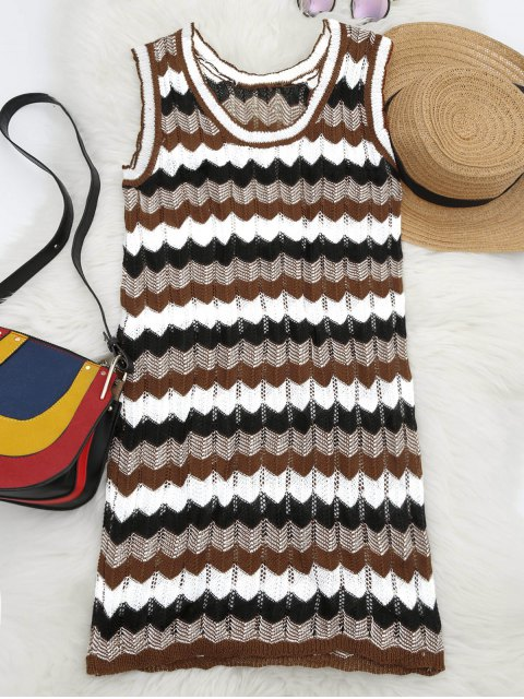 womens U Neck Graphic Sleeveless Knitted Dress - MULTI ONE SIZE Mobile