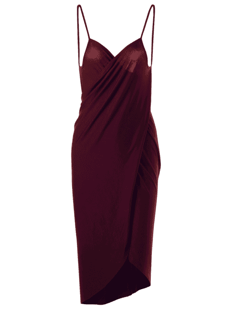 unique Plus Size Beach Cover-up Wrap Dress - WINE RED XL Mobile