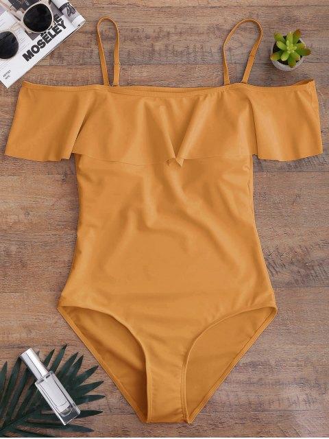 buy Off The Shoulder Flounced One-Piece Swimwear - EARTHY M Mobile