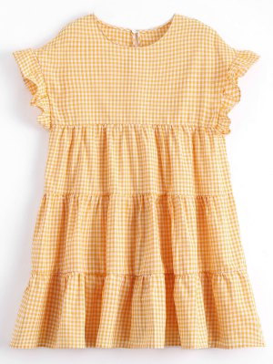 Checked Ruffles Shift Mini Dress - Checked M