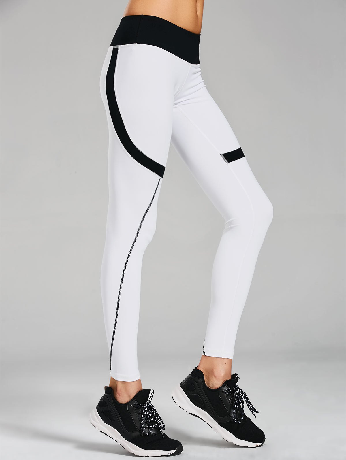 Sporty Stretchy Color Block Leggings 216719601