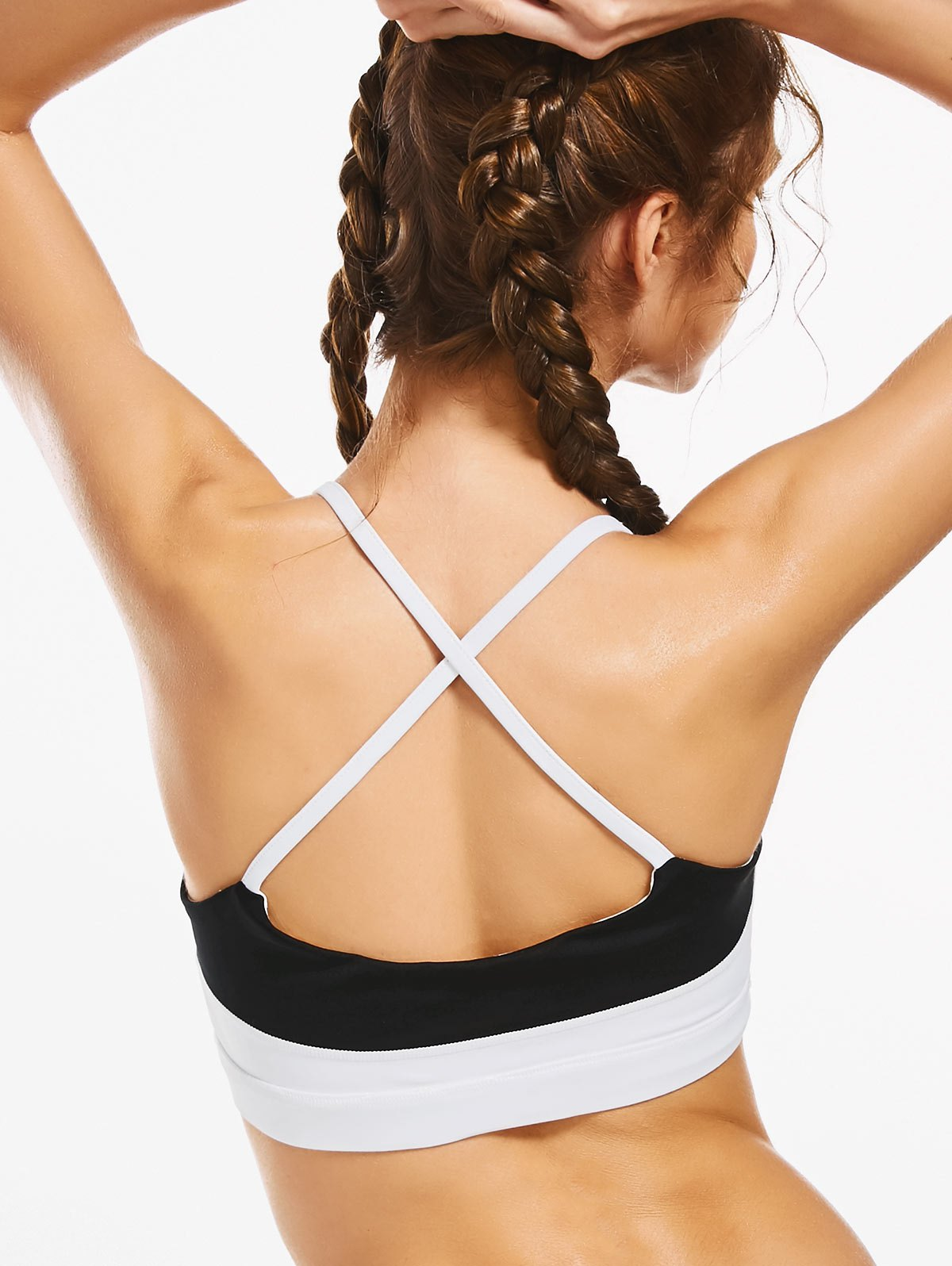 Color Block Cross Back Padded Sporty Bra 216715301