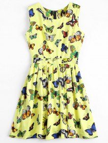 Back Zipper Butterfly Graphic Mini Dress - Yellow S