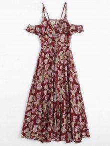 Floral Ruffles Cold Shoulder Maxi Dress - Floral S