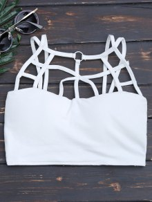Criss Cross Strappy Crop Top - White