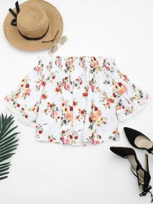 Floral Lace Trim Off Shoulder Blouse - White S