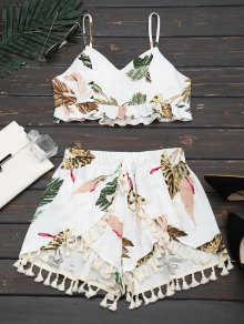 Cropped Ruffles Tropical Top And Tassels Layered Shorts - White S