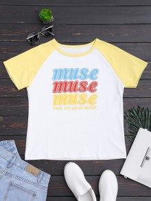 Letter Ralgan Sleeve T-Shirt - Yellow S