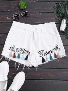 Cutoffs Tassels Beaded Embroidered Denim Shorts - White M