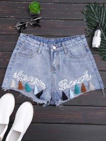 Cutoffs Tassels Beaded Embroidered Denim Shorts - Denim Blue L