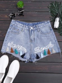 Cutoffs Tassels Beaded Denim Shorts Bordados - Denim Blue M