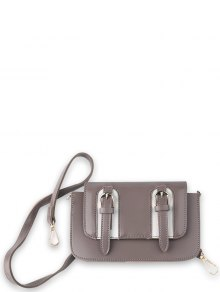 Twin Buckles Mini Cross Body Bag - Pinkish Purple