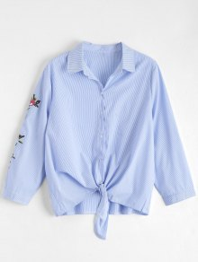 Bow Tie Stripes Floral Embroidered Shirt - Stripe S