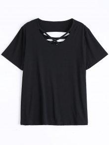 Camiseta Rasgada De Algodón De La Cruz De Criss - Negro Xl