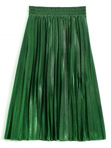 Metallic Color Shiny Midi Pleated Skirt - Deep Green M