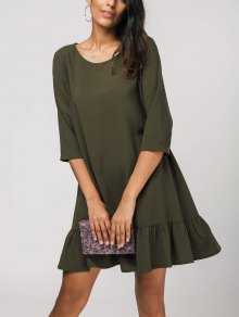 Ruffles Three Quarter Sleeve Shift Dress - Army Green L