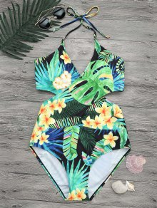 Plus Size Tropical Floral Wrap Swimsuit - Xl