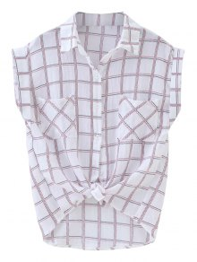 Bolsillos Anudados Curled Sleeve Grid Shirt - Cuadro