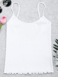 Cut Out Back Ribbed Tank Top - White