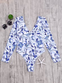 Padded Printed Rashguard One Piece Swimsuit - Blue And White L