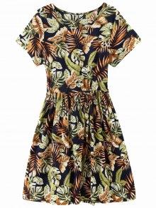 Drawstring Tropical Leaf Print Knee Length Dress - Floral