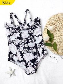 Back Tied Cut Out Floral Kid Swimwear - Black 6t
