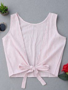 Plunging Neck Striped Tank Top - Pink M