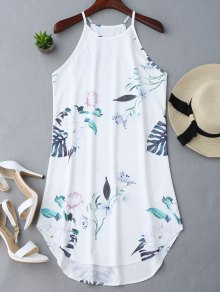 Floral Printed Cami Dress - White M