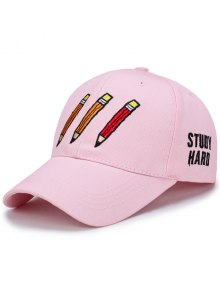 Cartoon Pencil Letters Embroidery Baseball Hat - Shallow Pink