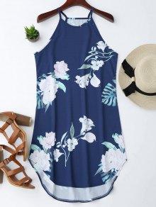 Vestido Con Tirante Fino Con Estampado Floral - Teal M