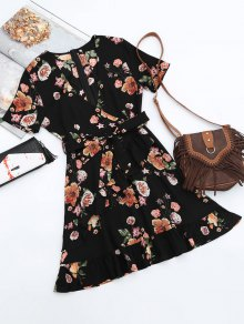 Floral Plunging Neck Ruffles Surplice Dress - Black M