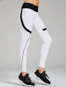 Sporty Stretchy Color Block Leggings - White S