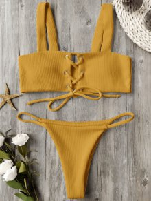 Ribbed Texture Lace Up Bathing Suit - Ginger M