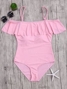 Off The Shoulder Flounced One-Piece Swimwear - Pink M