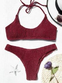 Padded Smocked Bralette Bikini Set - Red M