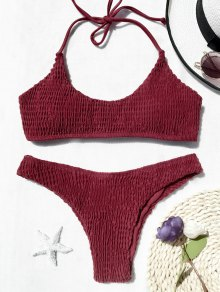 Padded Smocked Bralette Bikini Set - Red S