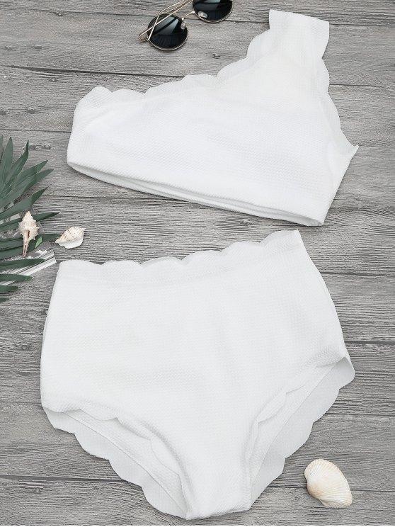 Bikini Festoneado de Un Hombro Solo con Cintura Alta - Blanco S