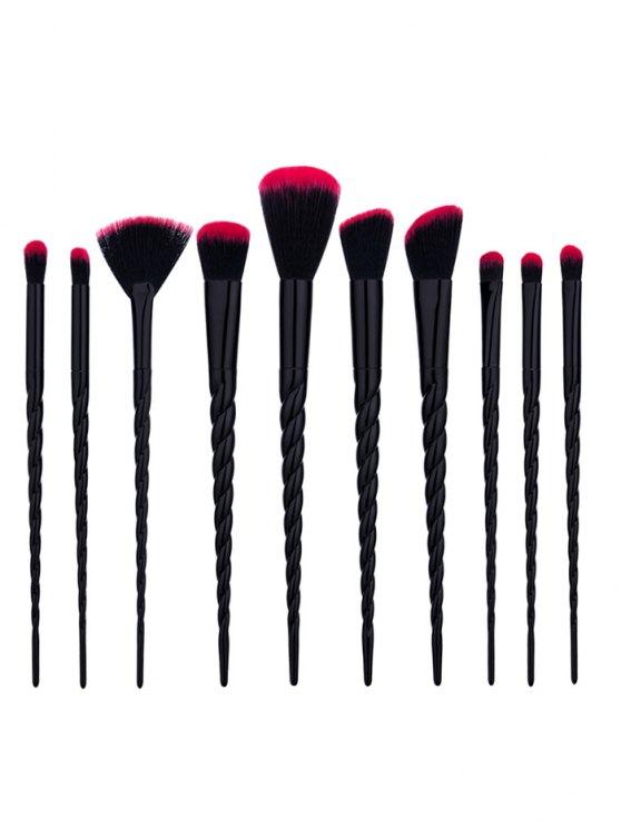 10pcs unicornio forma cónica pinceles de maquillaje Set - Negro