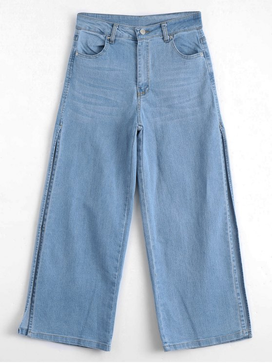 new Ninth High Slit Wide Leg Jeans - DENIM BLUE L