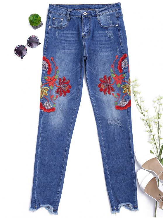 outfit Cutoffs Floral Embroidered Narrow Feet Jeans - DENIM BLUE XL